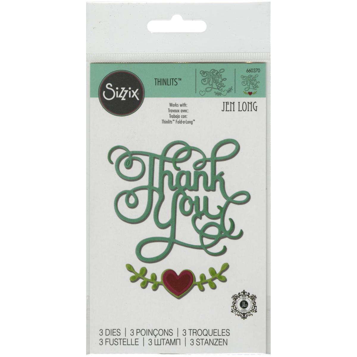 Sizzix Thinlits Dies By Jen Long 3/Pkg-Thank You W/Hearts