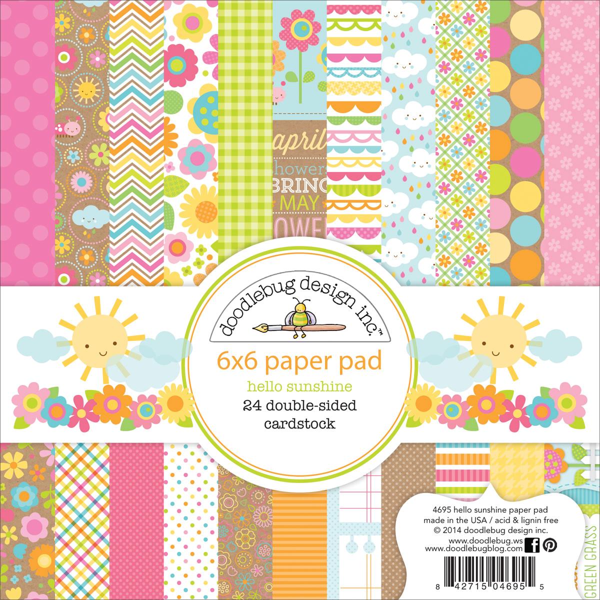 Doodlebug Double-Sided Paper Pad 6X6 24/Pkg-Hello Sunshine, 12 Designs/2 Each