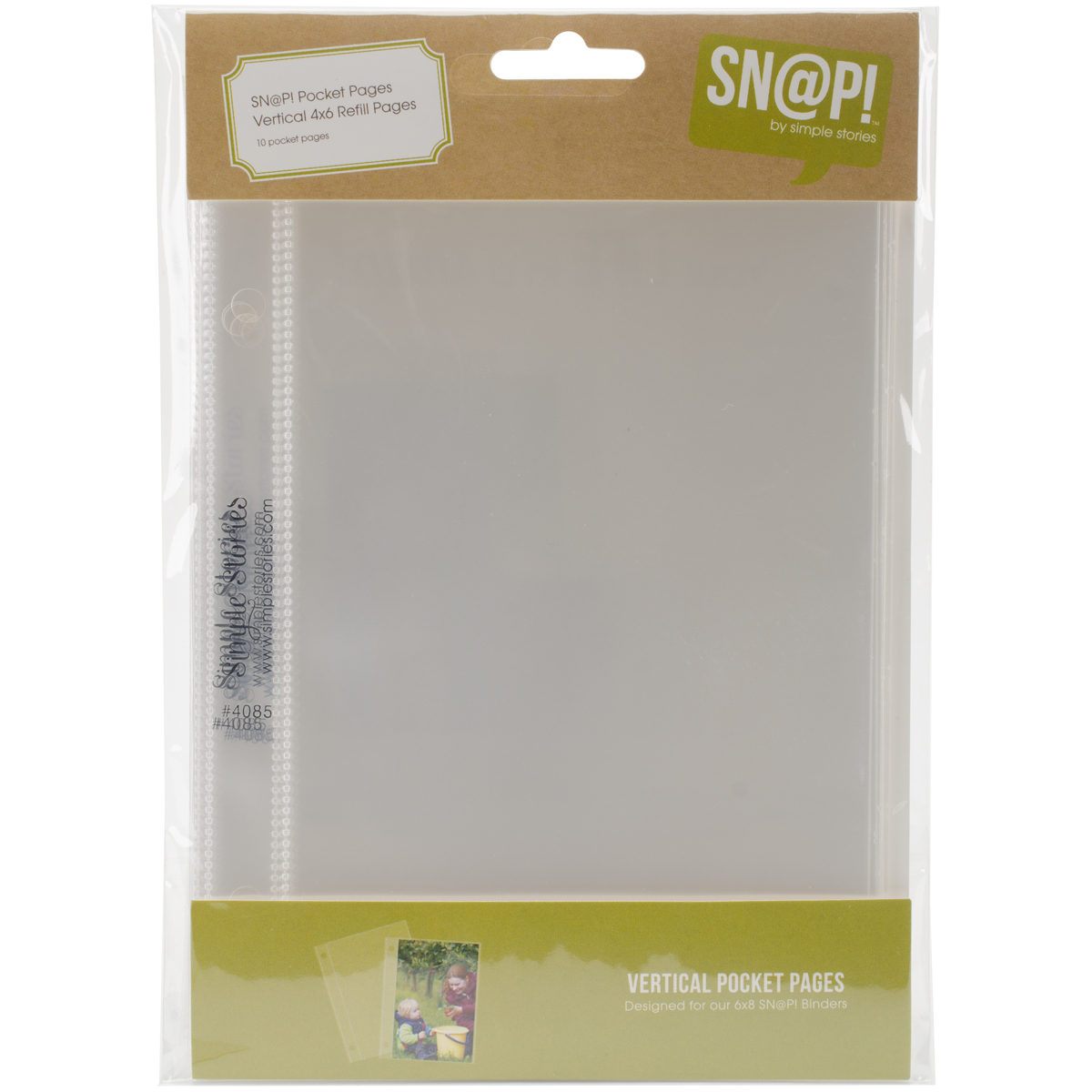 Simple Stories Sn@p! Pocket Pages For 4X6 Binders 10/Pkg-(1) 4X6 Vertical Po...