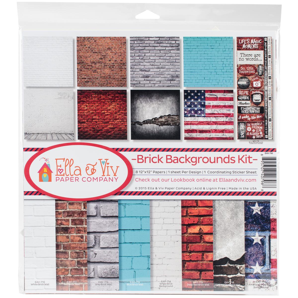Ella & Viv Collection Kit 12X12-Brick Backgrounds