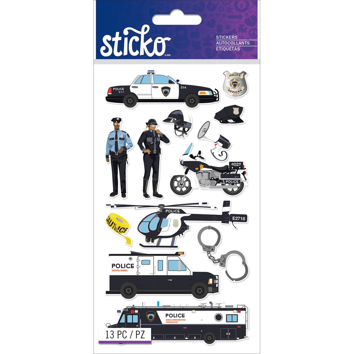 Sticko Stickers-Police Officer Cars