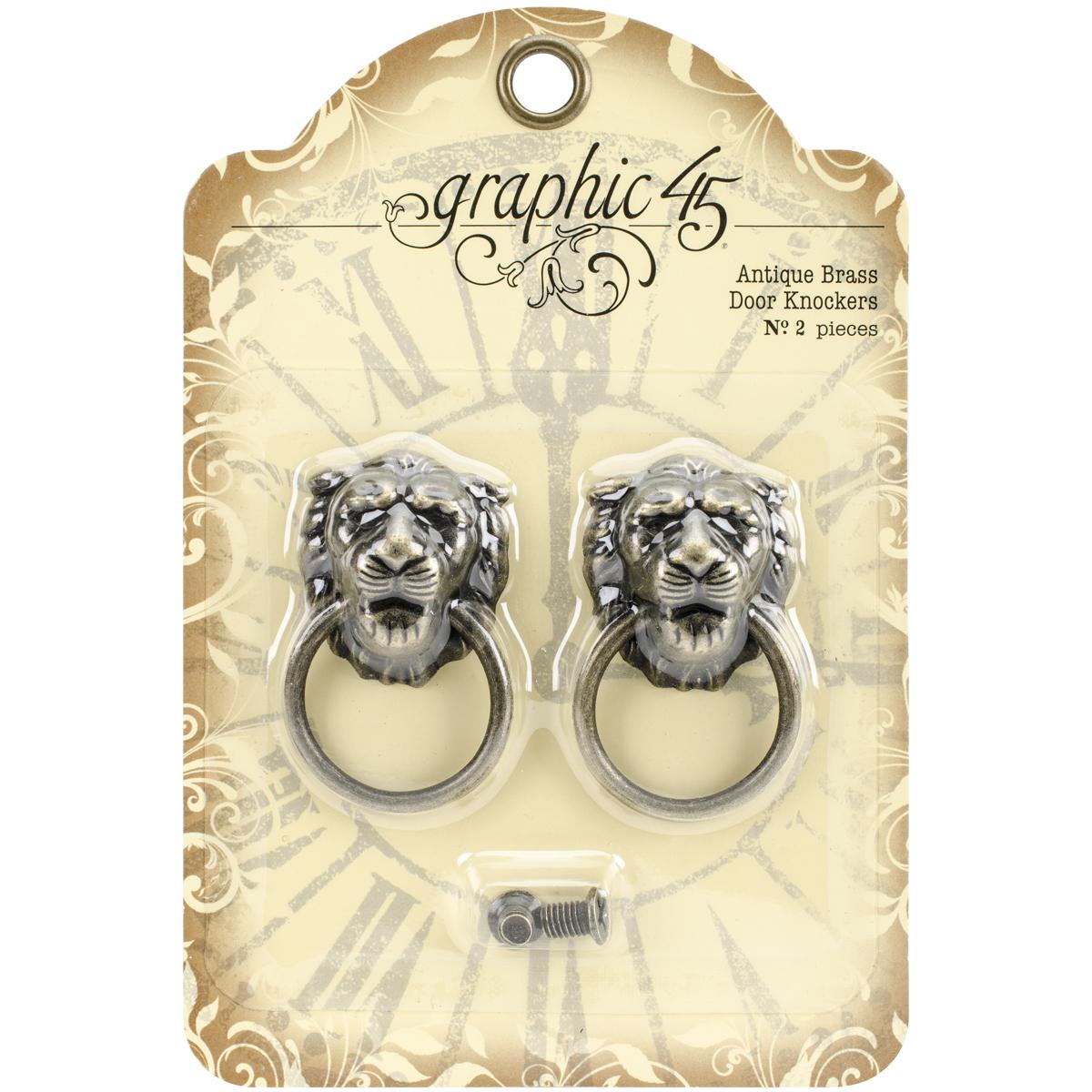 Graphic 45 Staples Door Knockers 2/Pkg-Antique Brass 2X1.2X.6
