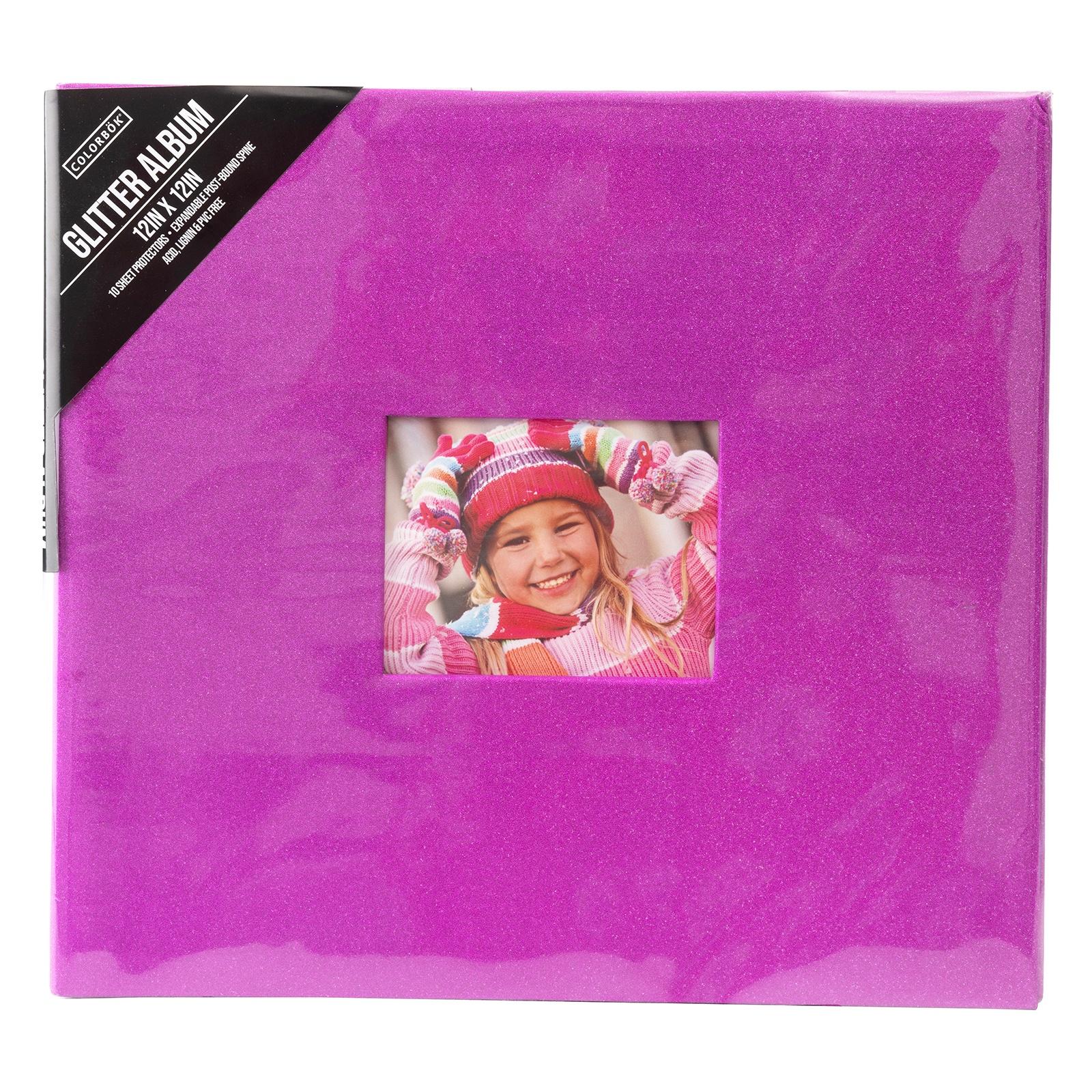 Colorbok Post Bound Glitter Album 12X12-Pink
