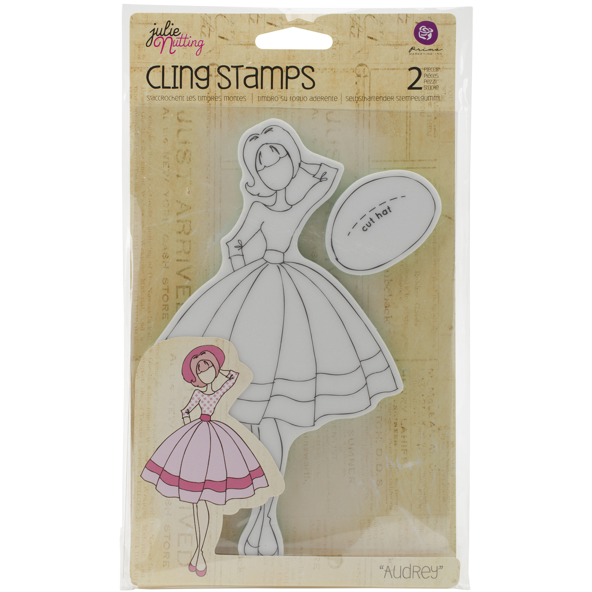 Prima Marketing Julie Nutting Mixed Media Cling Rubber Stamp-Audrey