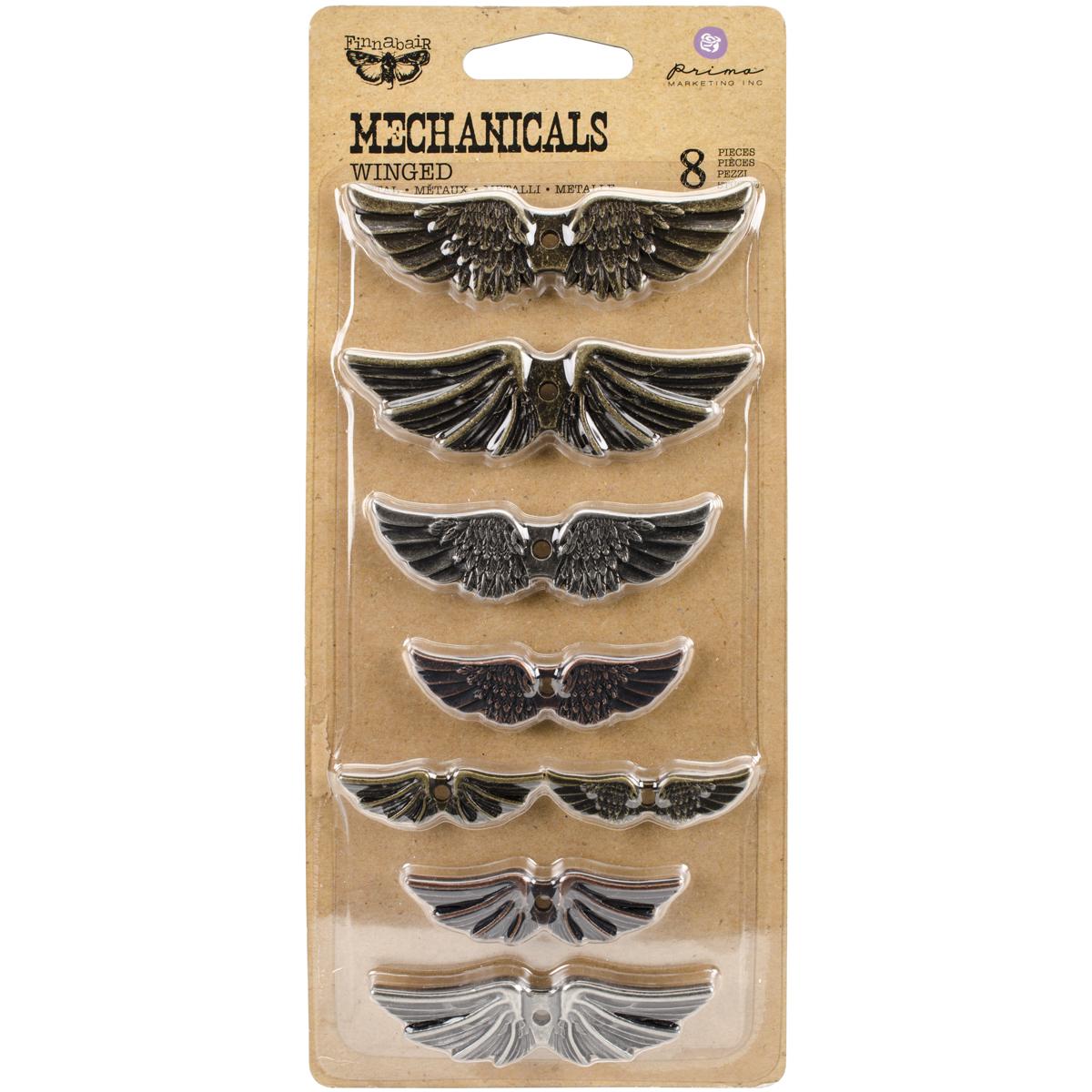 Prima Marketing Mechanicals Metal Embellishments-Winged 8/Pkg