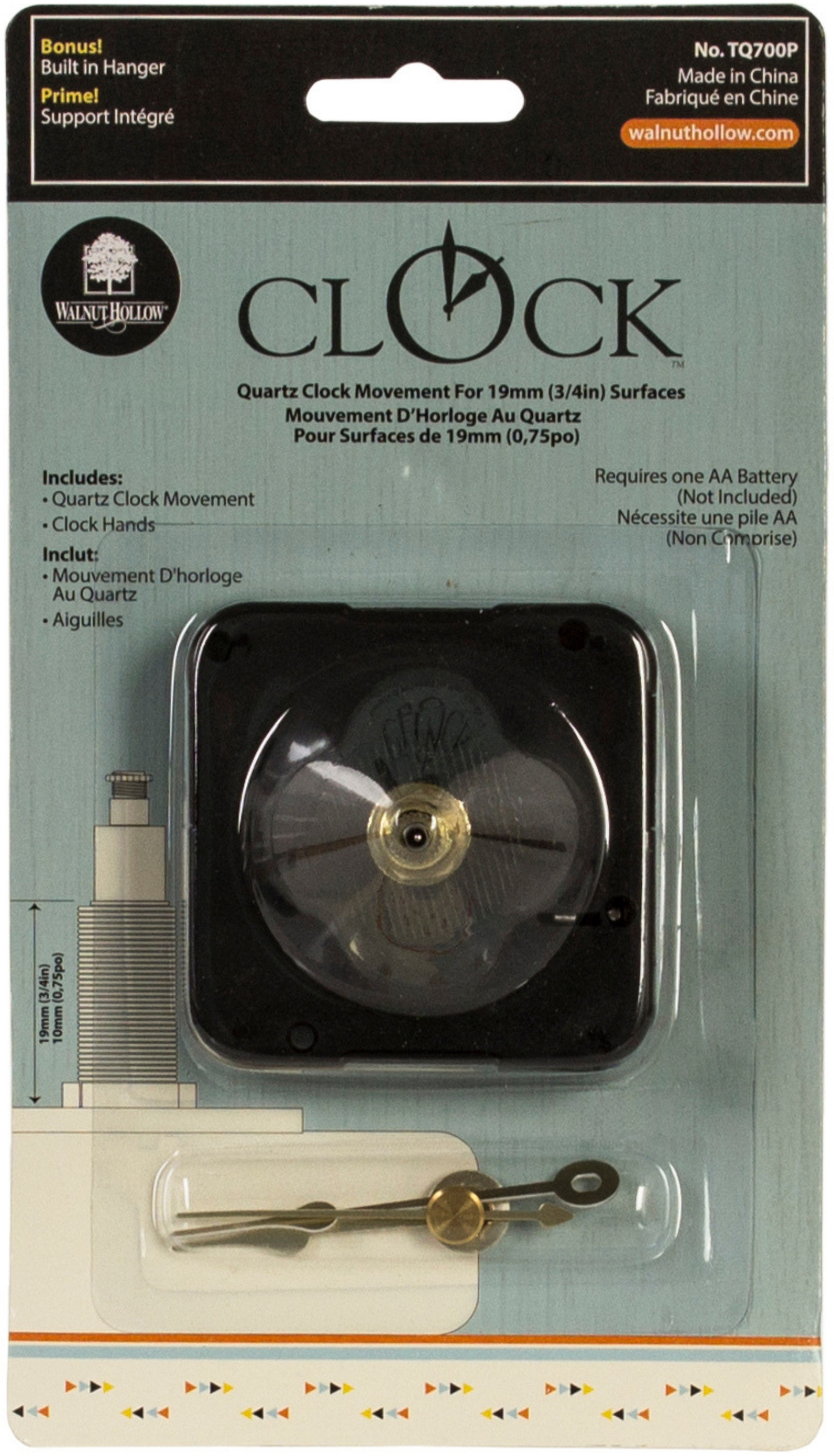Quartz Clock Movement-For .75 Surfaces