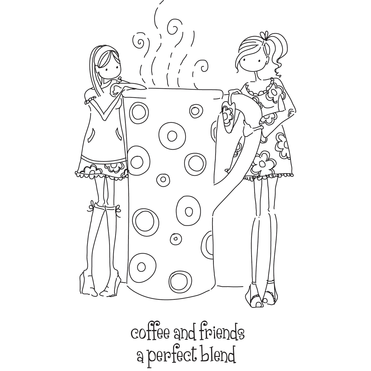 Stamping Bella Uptown Girls Rubber Stamp Set Uptown Girls Clarissa and Camille Share a Cafe (LL130)