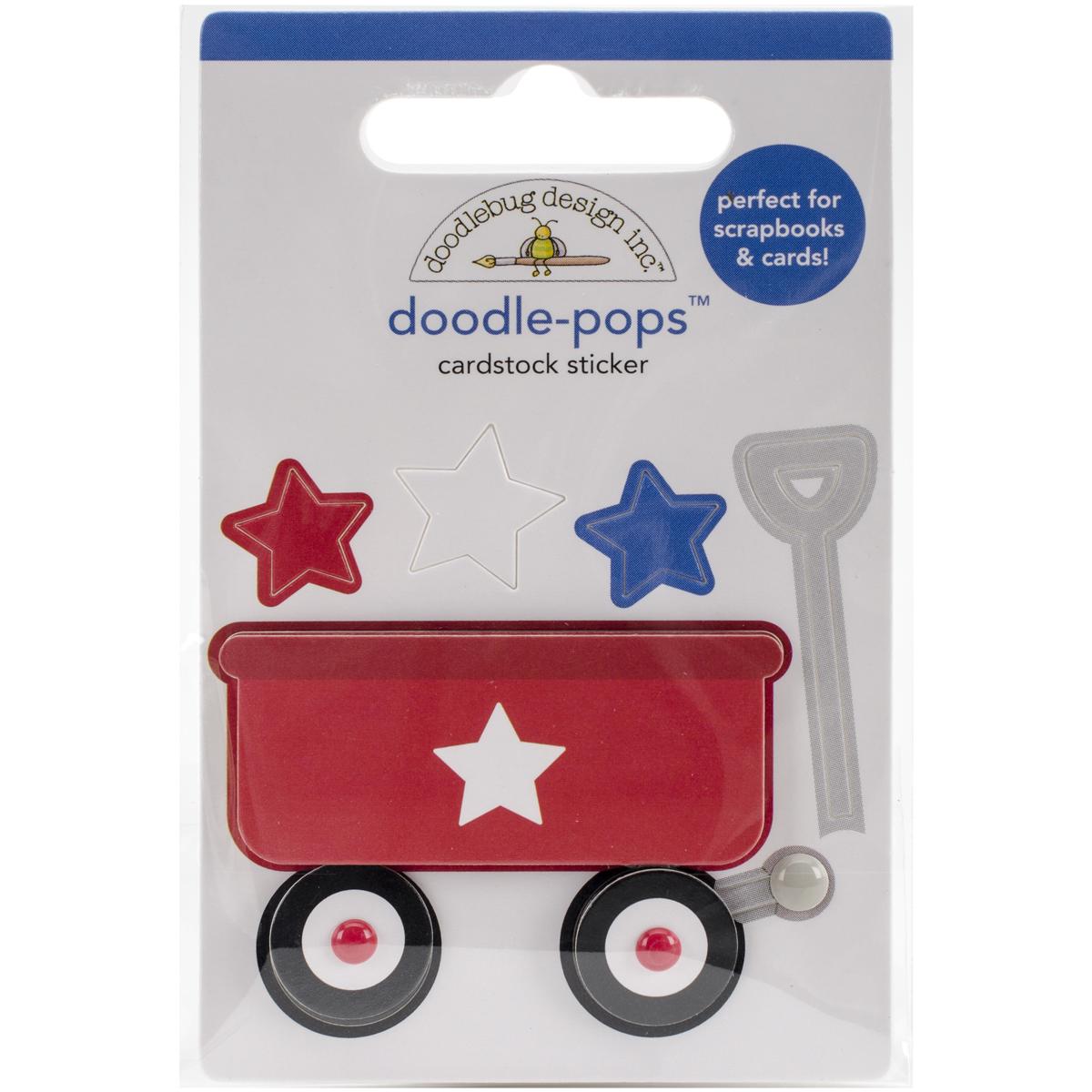 Doodlebug Doodle-Pops 3D Stickers-Patriotic Little Red Wagon