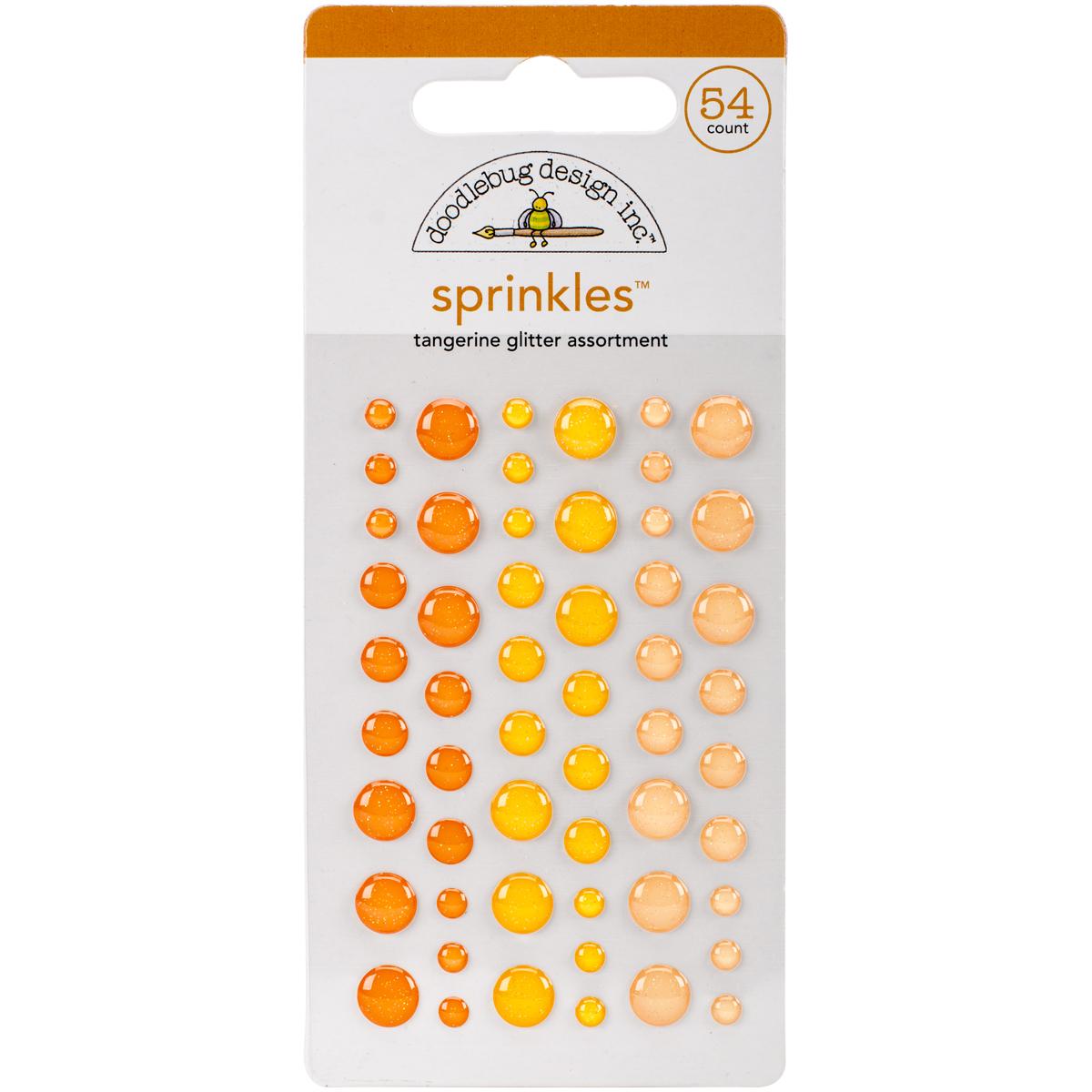 Doodlebug Sprinkles Adhesive Glitter Enamel Dots 54/Pkg-Tangerine