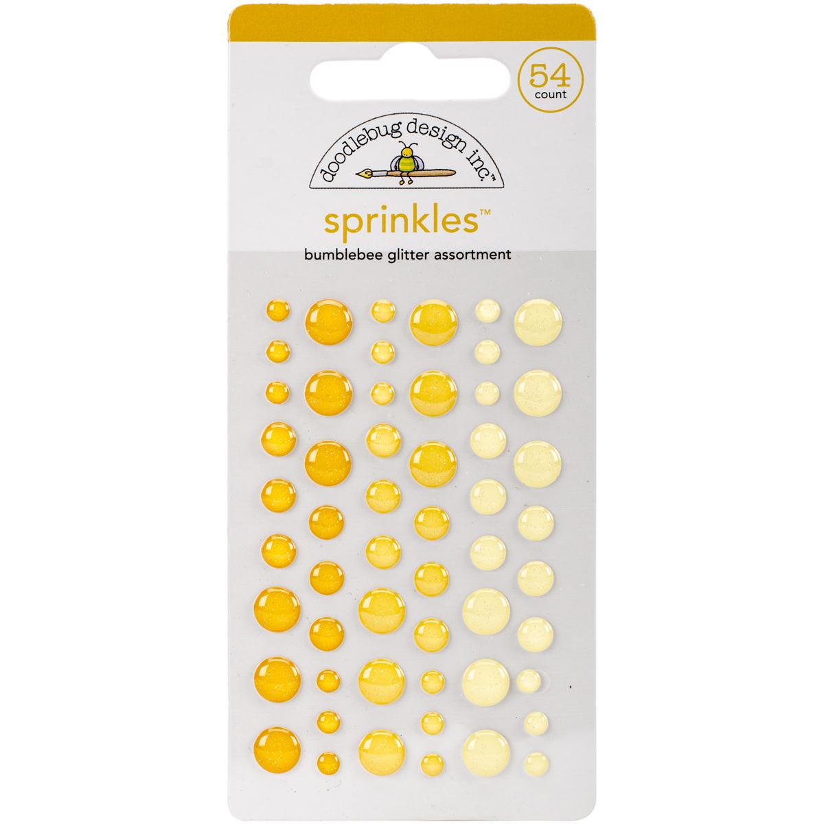 Doodlebug Sprinkles Adhesive Glitter Enamel Dots 54/Pkg-Bumblebee