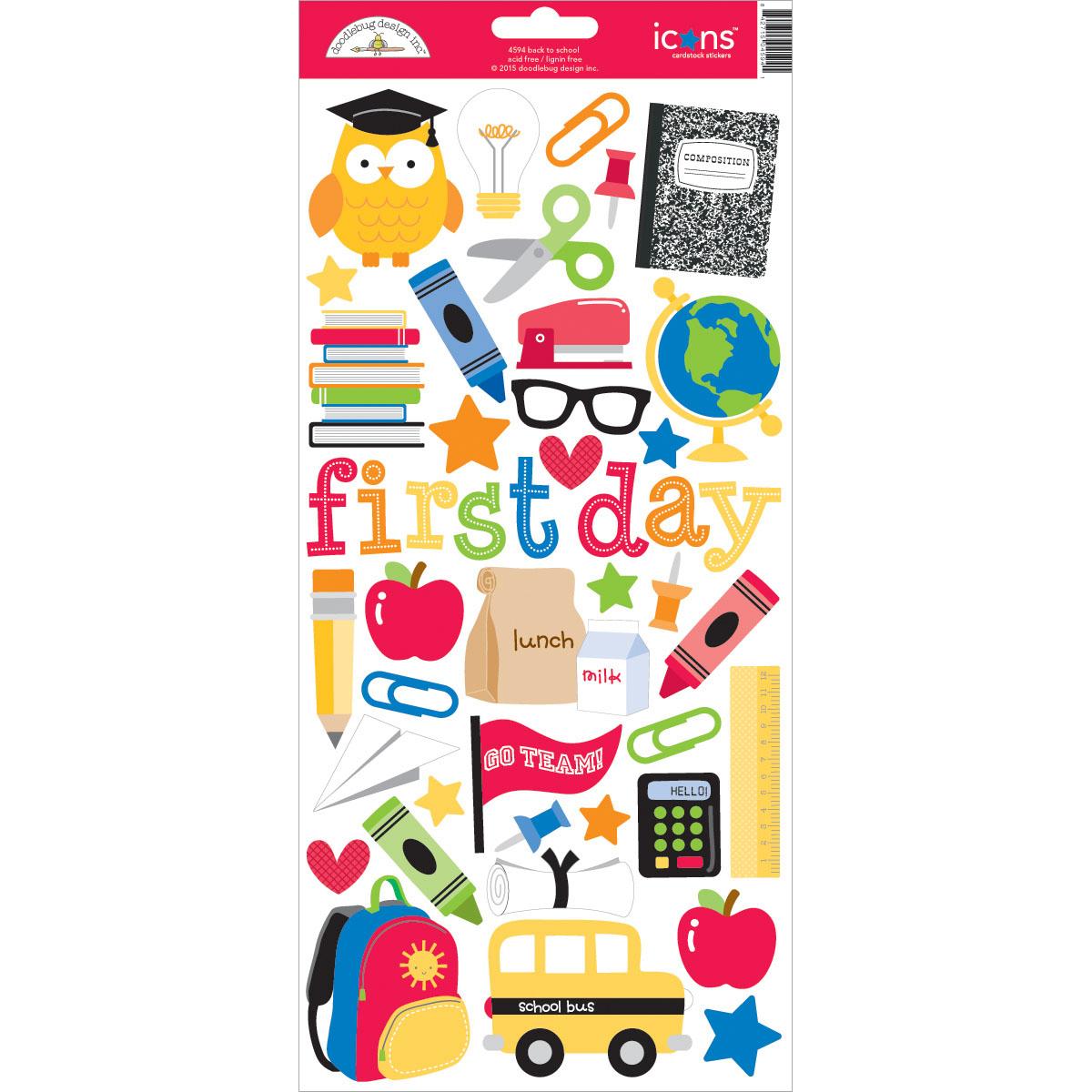 Doodlebug Cardstock Stickers 6X13-School