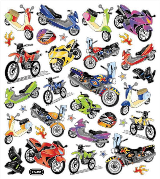 MOTORCYCLE-MULTI-COLORED STKRS