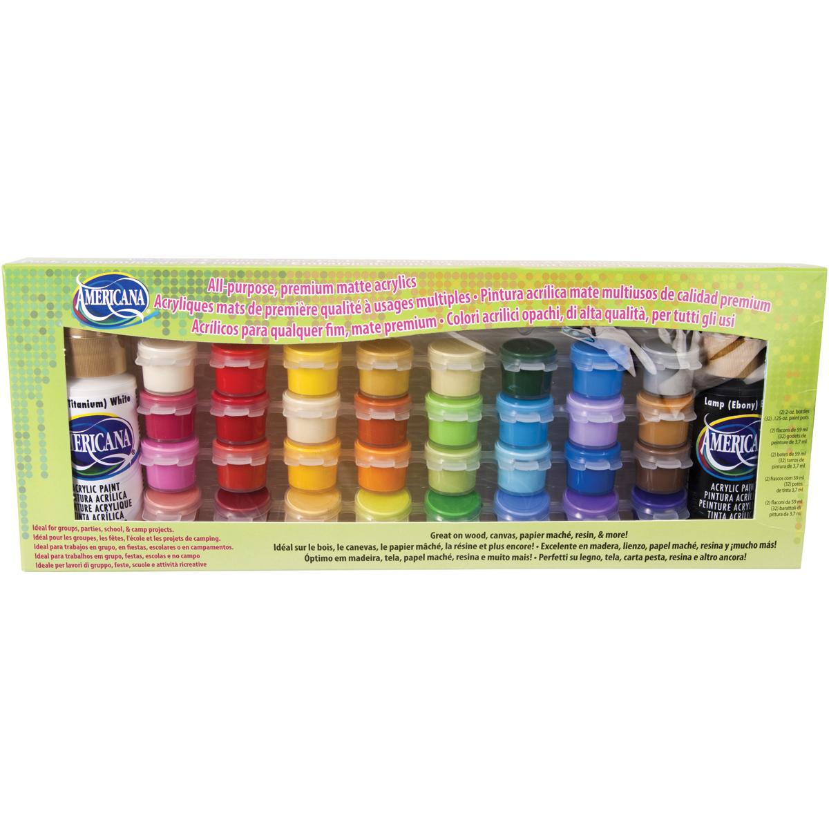Americana All-Purpose Acrylic Paint Pot Value Pack 34/Pkg-Matte