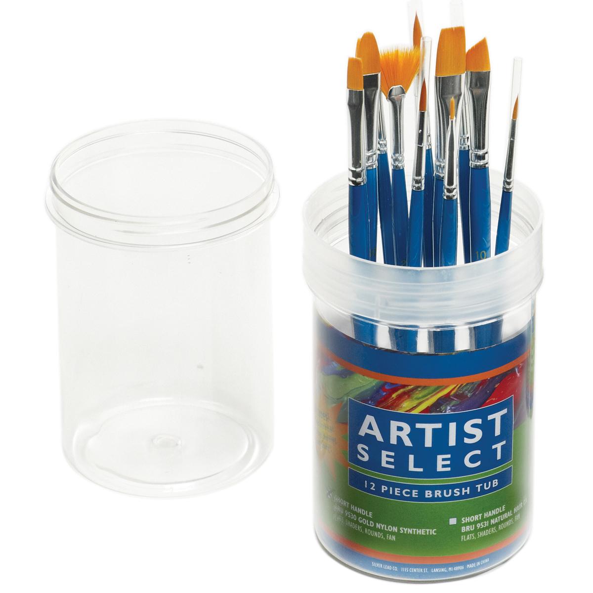 Pro Art Artist Select Short Handle Brush Tub Assortment 12/P-Gold Nylon