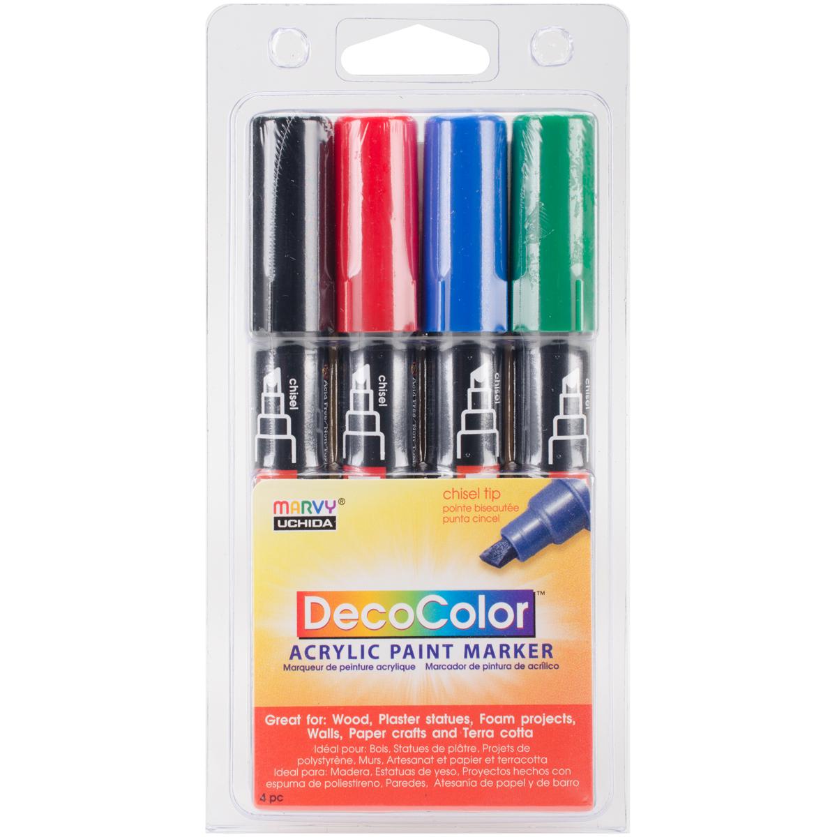 DecoColor Chisel Acrylic Paint Markers 4/Pkg-Black, Red, Blue & Green