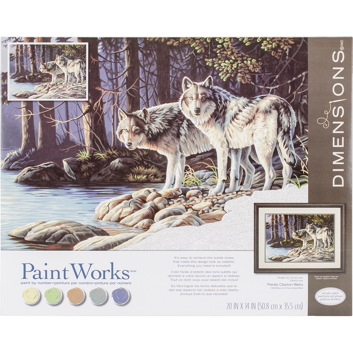 Paint Works Paint By Number Kit 20X14-Gray Wolves