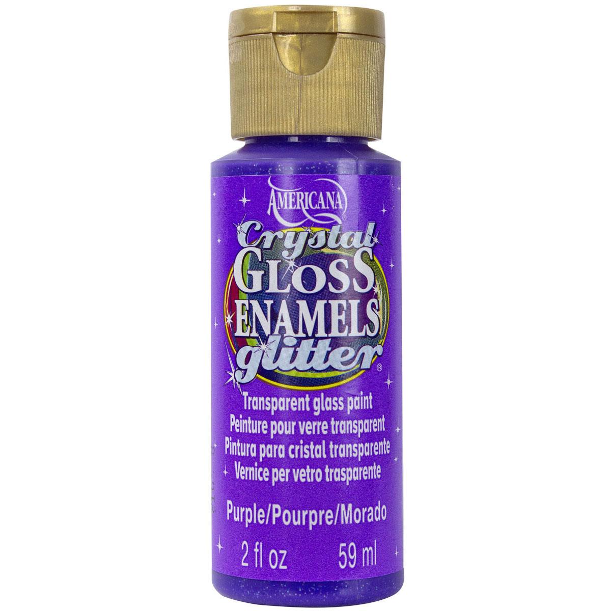 Americana Gloss Enamels Crystal Glitter Acrylic Paint 2oz-Yellow