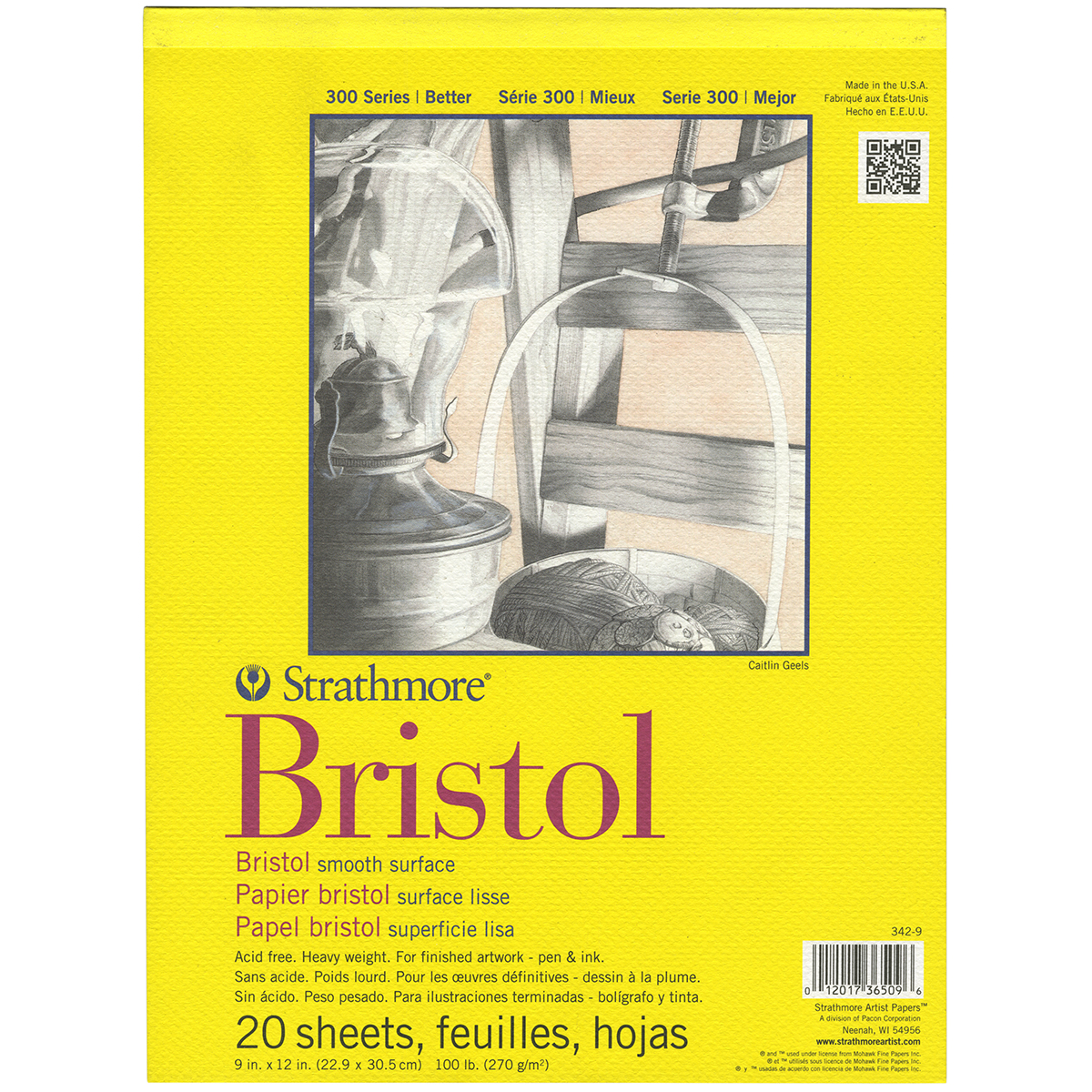 Strathmore Bristol Smooth Paper Pad 9X12-20 Sheets