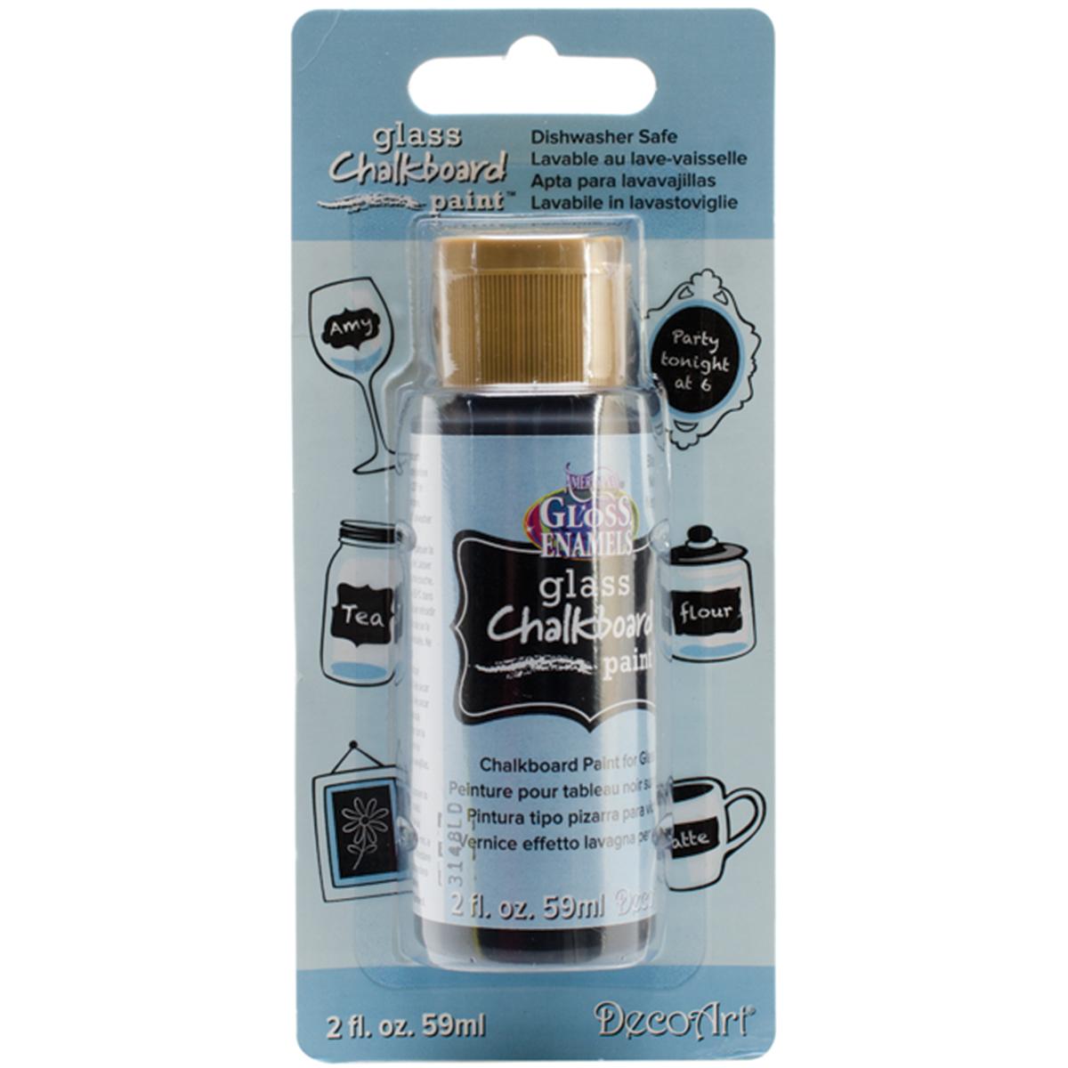 Americana Gloss Enamels Glass Chalkboard Paint 2oz Carded-Black