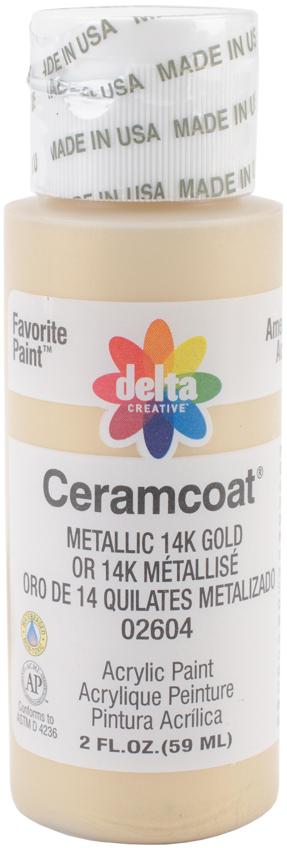 Ceramcoat Metallic Acrylic Paint 2oz-Metallic 14K Gold