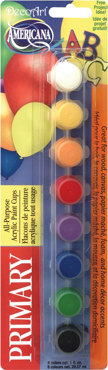 Americana All-Purpose Acrylic Paint Pots 8/Pkg-Primary