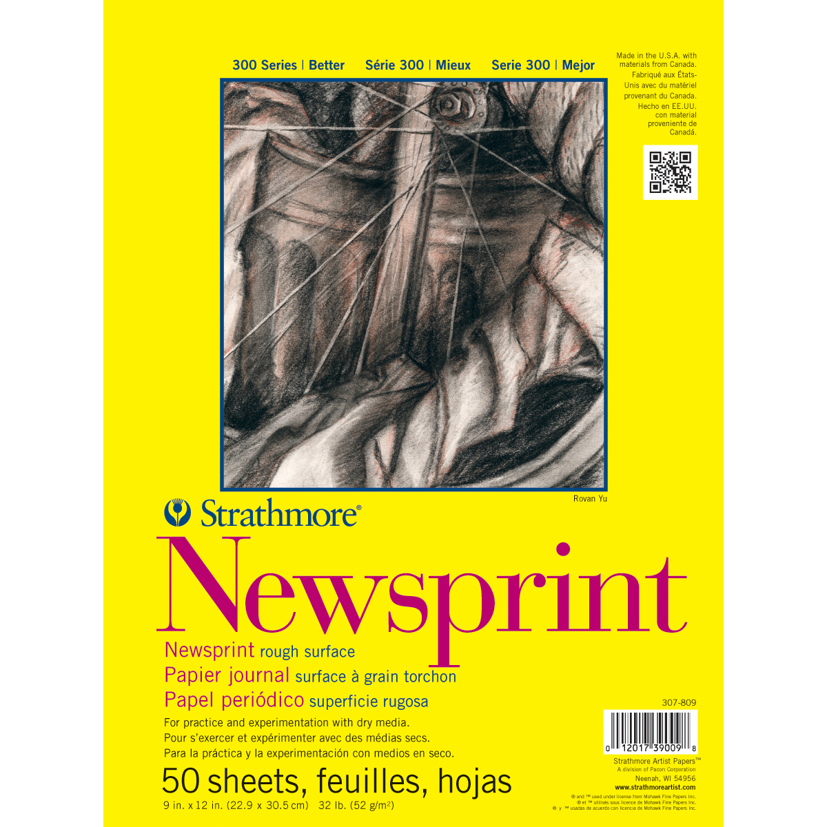 Strathmore Rough Newsprint Paper Pad 9X12-50 Sheets