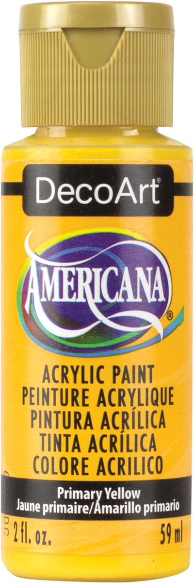 Americana Acrylic Paint 2oz-Primary Yellow - Semi-Opaque