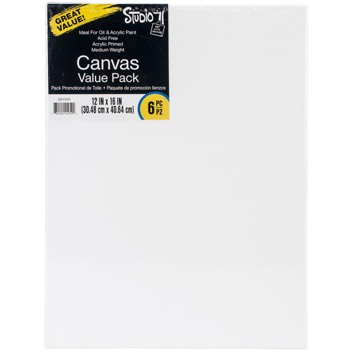 Studio 71 Stretched Canvas Value Pack 6/Pkg-12X16