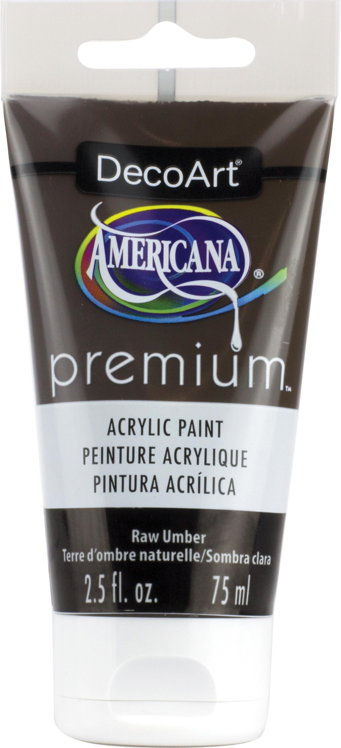 Americana Premium Acrylic Paint Tube 2.5oz-Raw Umber