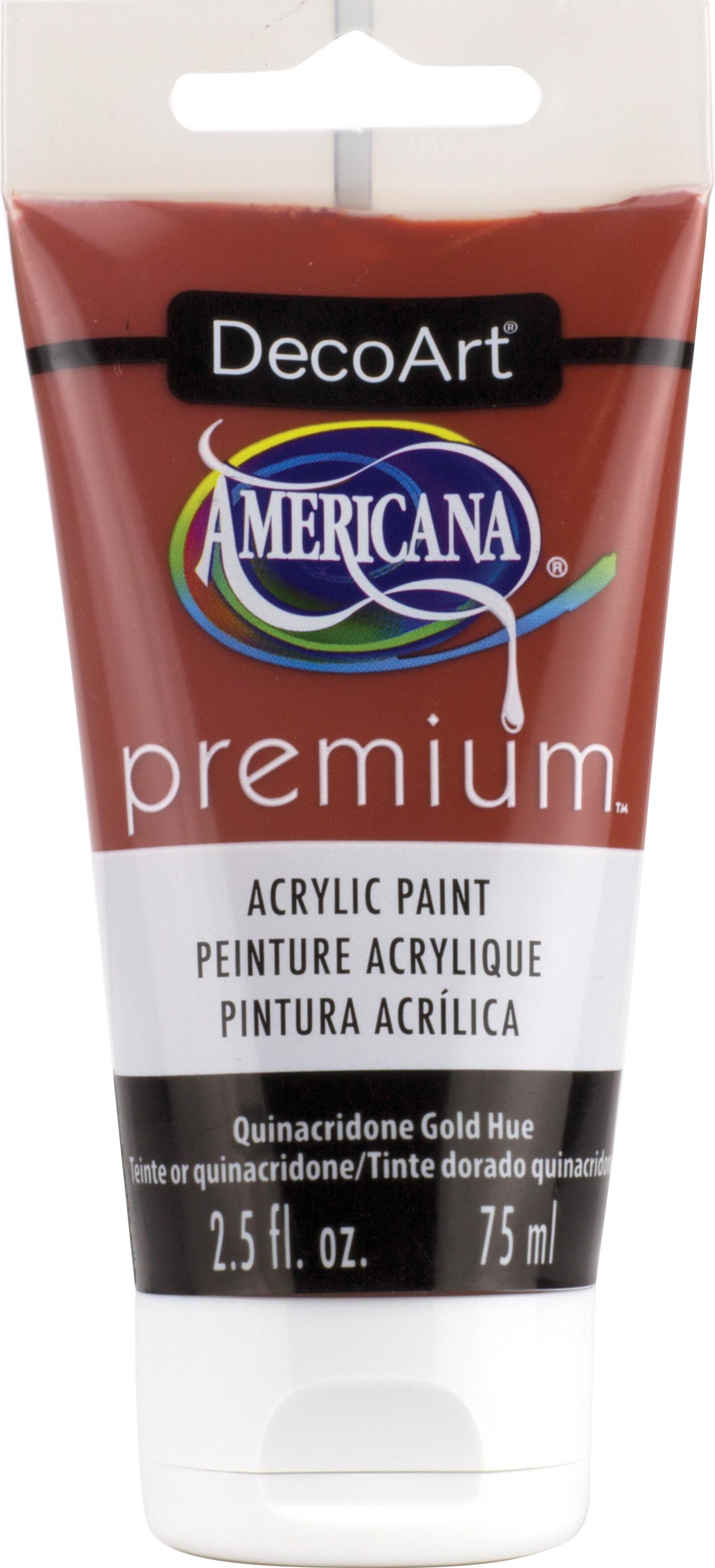 Americana Premium Acrylic Paint Tube 2.5oz-Quinacridone Gold