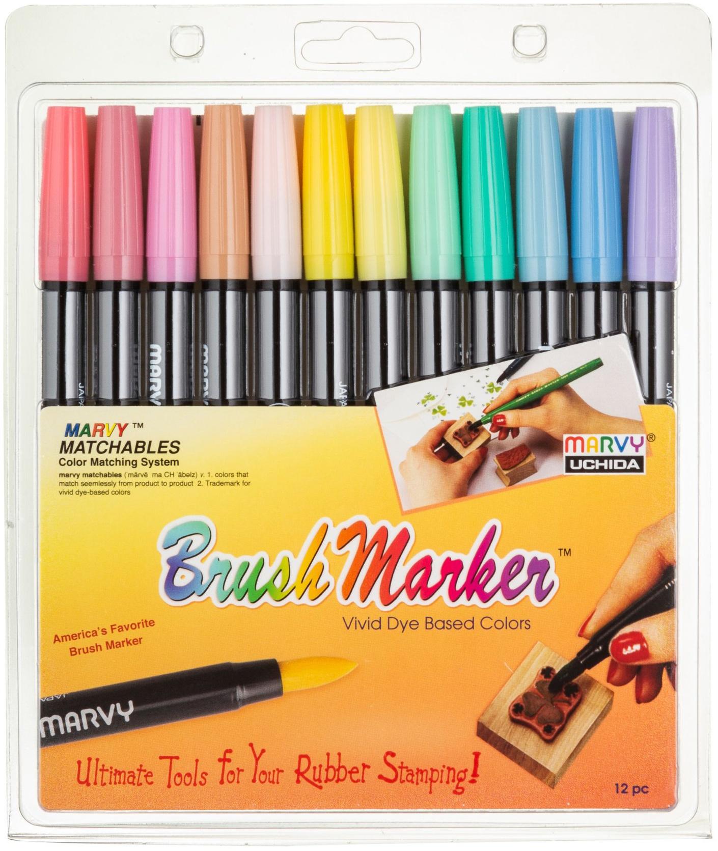 Pastel Brush Markers 12/Pkg