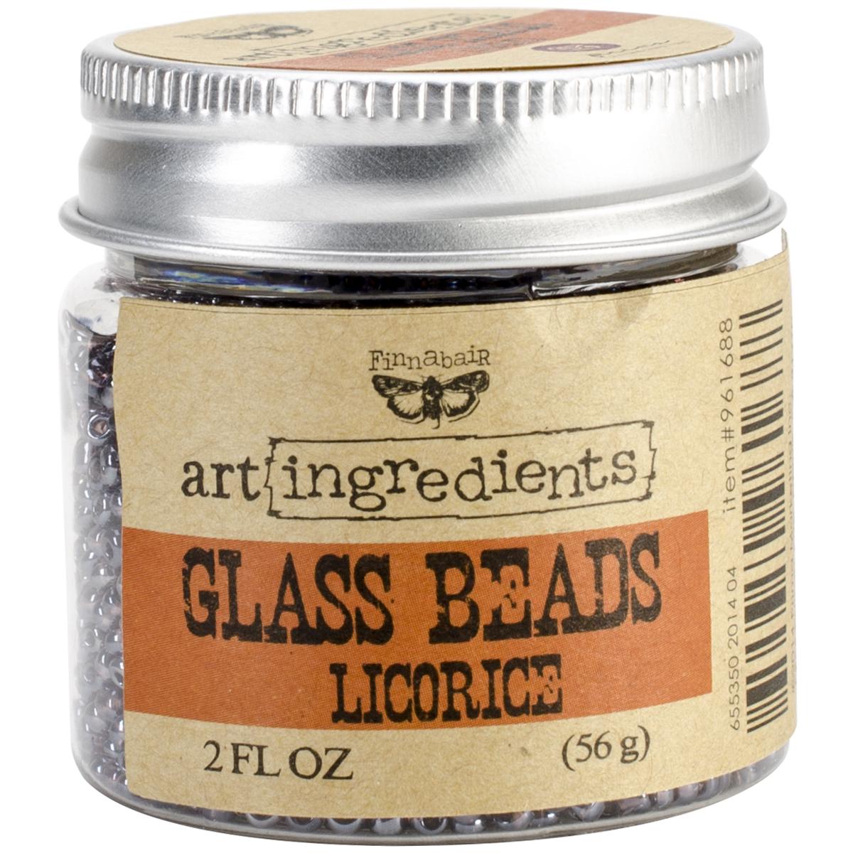 Finnabair Art Ingredients Glass Beads 2oz-Licorice