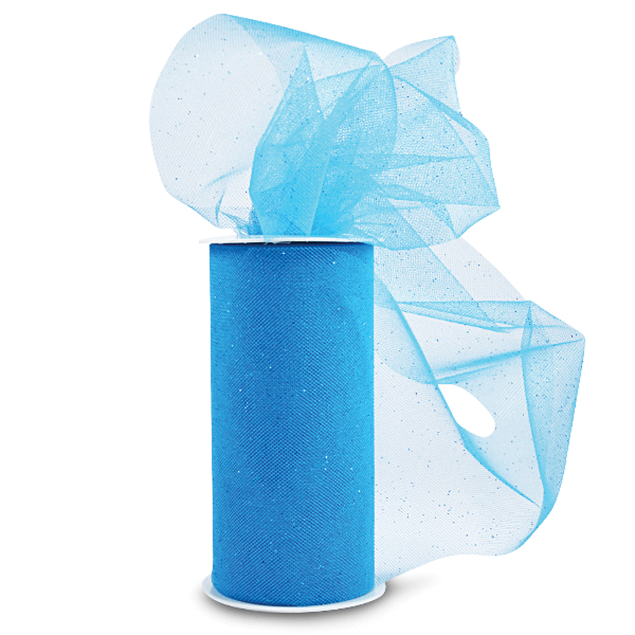 Expo Glitter Tulle 6X25yd Spool-Turquoise W/Turquoise Glitter