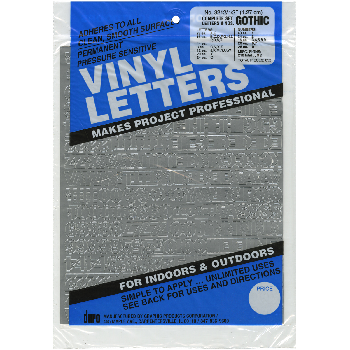 Permanent Adhesive Vinyl Letters & Numbers .5 852/Pkg-Red