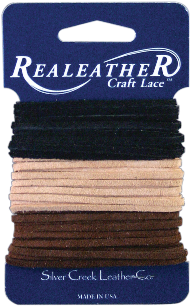 Realeather Crafts Sof-Suede Lace .094X8yd Carded-Black, Cafe & Sand