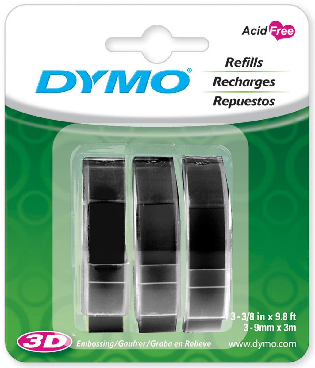 Dymo Caption Maker Tape Refill 3/8X9.8 Feet 3/Pkg-Black