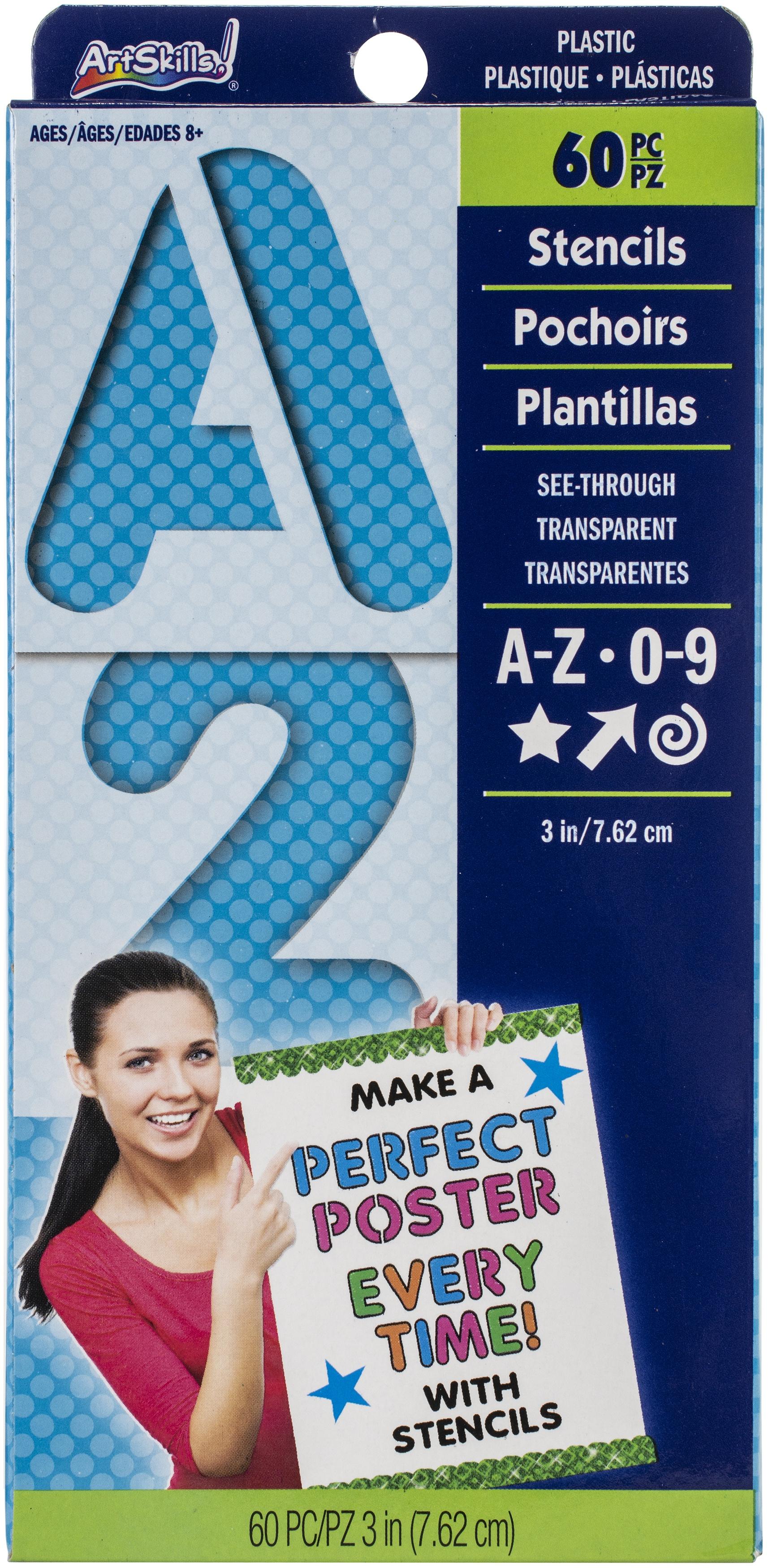 Reusable Letters, Numbers & Shapes Stencils 3 60/Pkg-