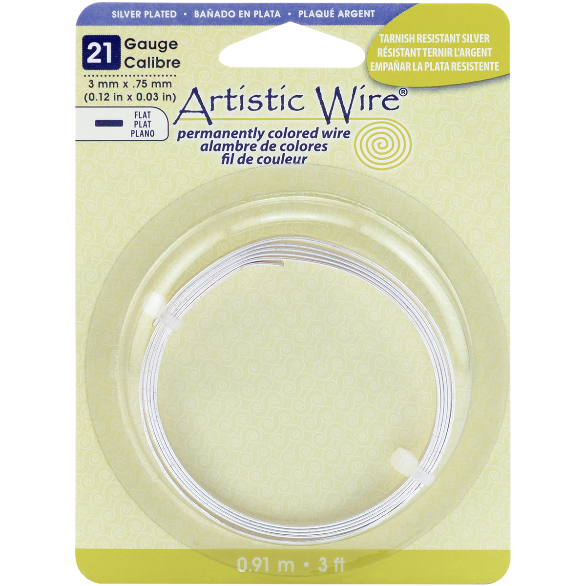 Artistic Wire Flat-Silver-Plated - 21 Gauge, 3mmX.75mmX3'