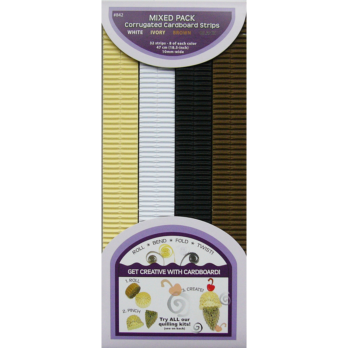 Quilled Creations Quilling Paper Corrugated 18.5X10mm 32/P-Brown, Ivory & White