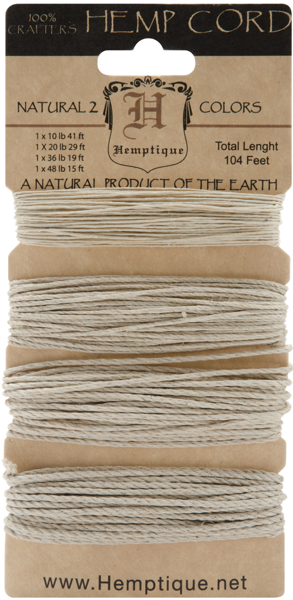 Hemptique Hemp Cord Mixed Sizes 104'-Natural