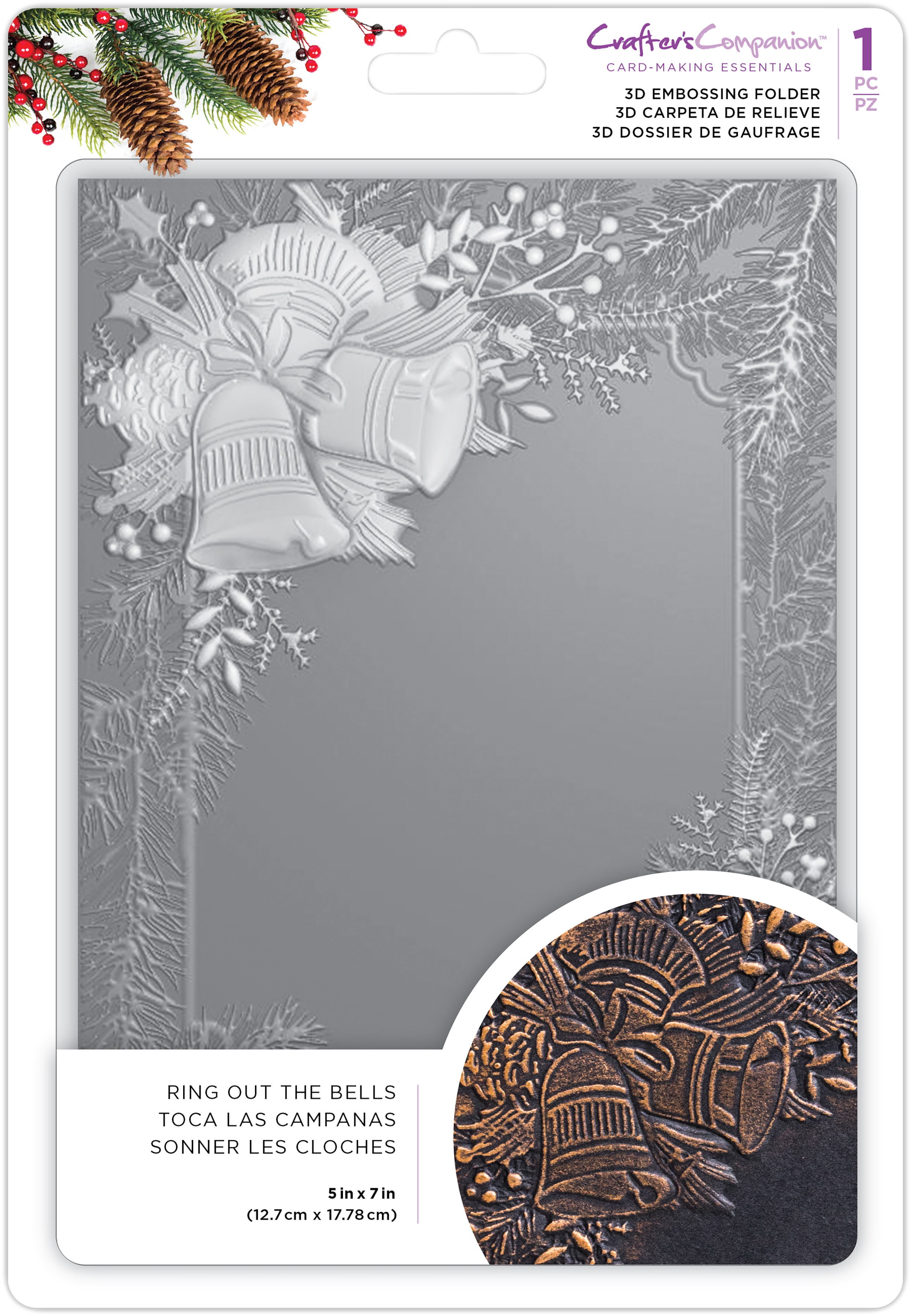 Crafter's Companion 3D Embossing Folder 5X7-Ring Out The Bells