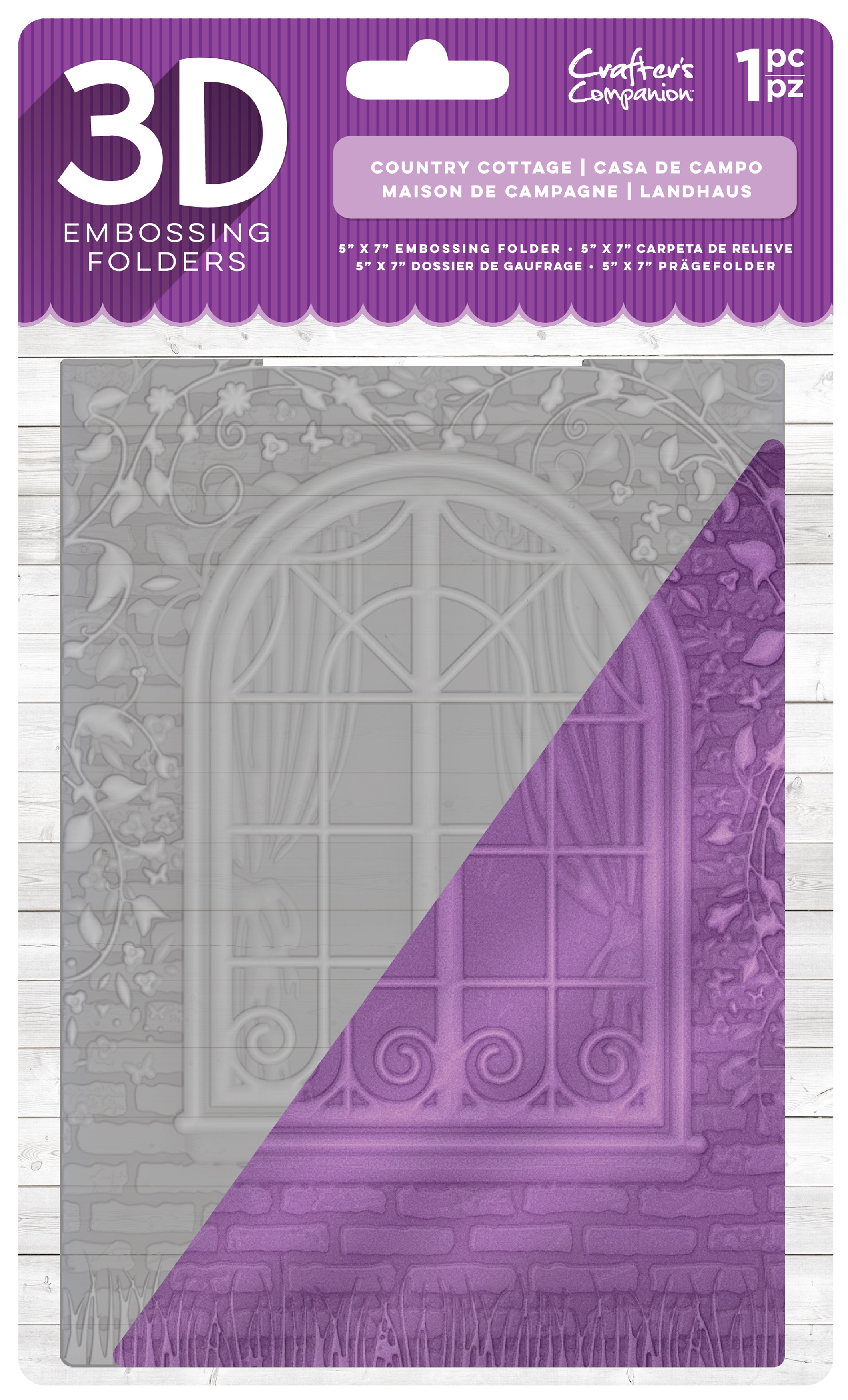 Crafter's Companion 3D Embossing Folder 5X7-Country Cottage