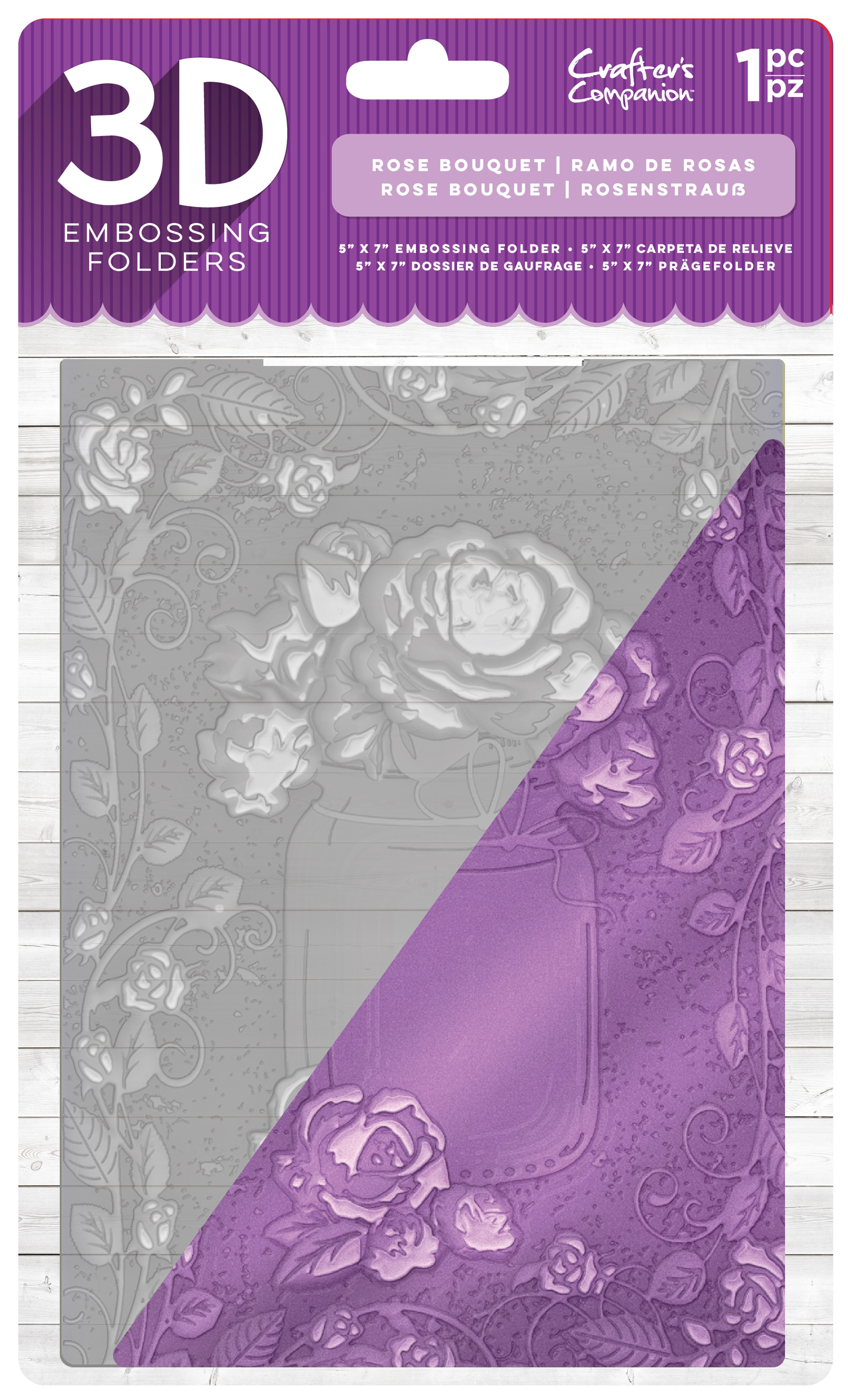 Crafter's Companion 3D Embossing Folder 5X7-Rose Bouquet