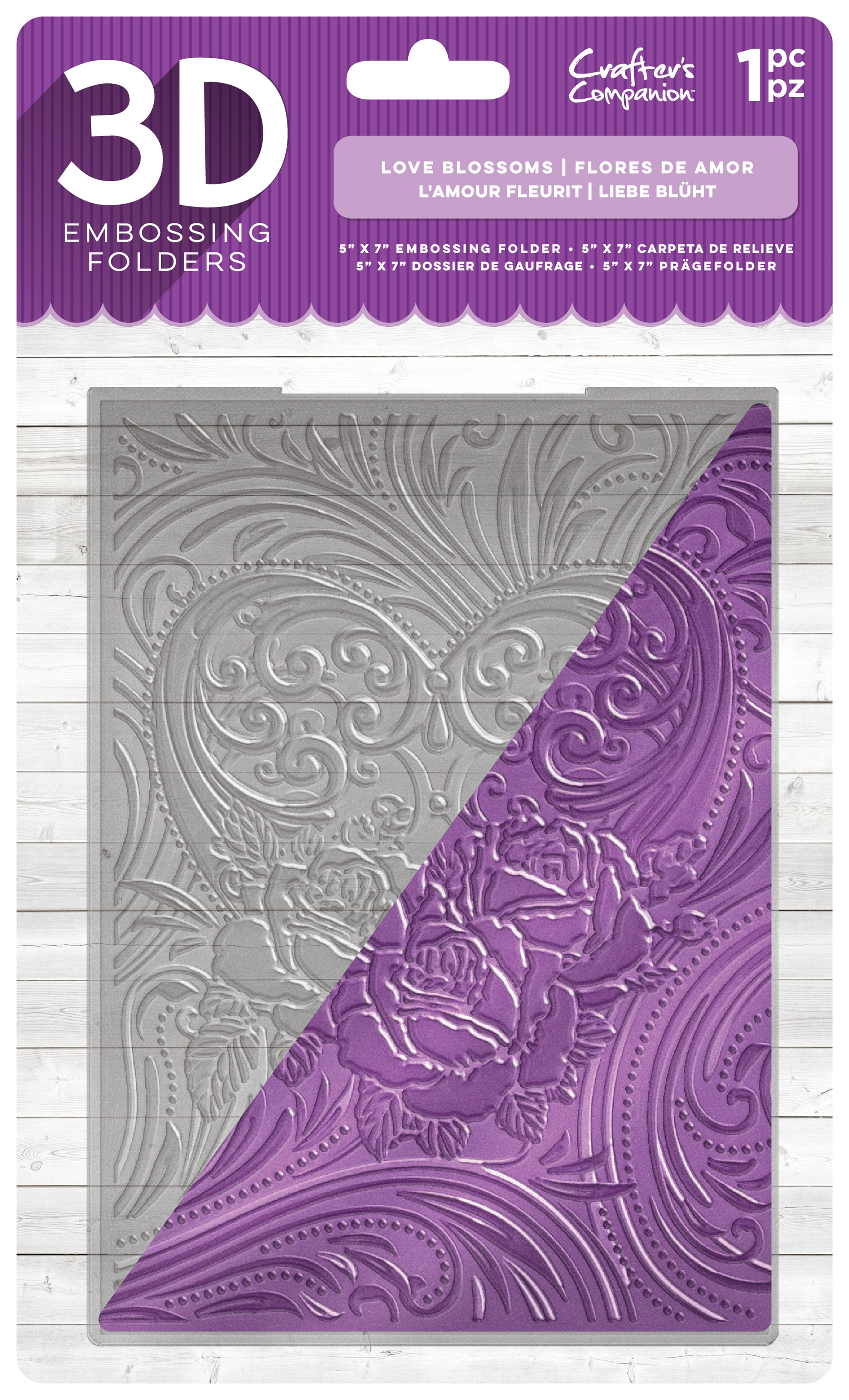Crafter's Companion 3D Embossing Folder 5X7-Love Blossoms