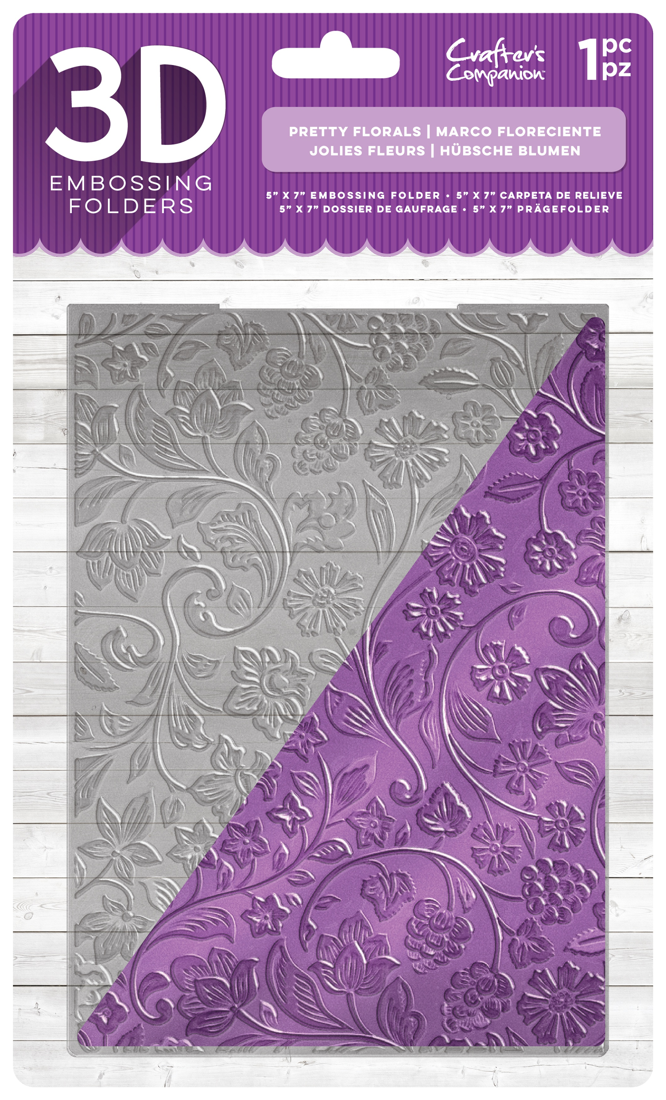 Crafter's Companion 3D Embossing Folder 5X7-Pretty Florals