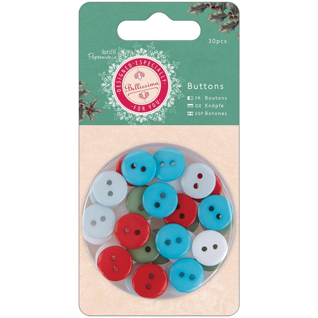 Papermania Bellissima Christmas Buttons 30/Pkg-5 Color Assortment