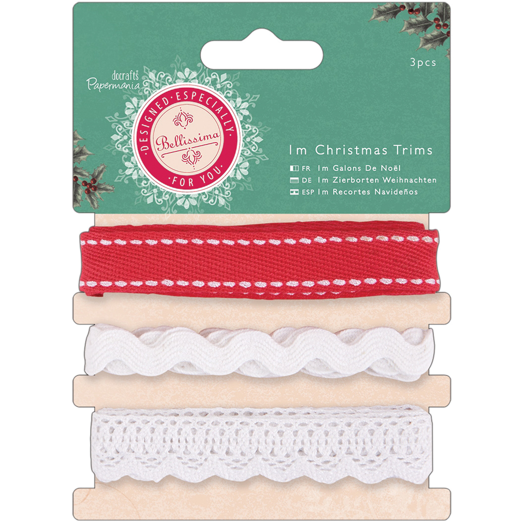 Papermania Bellissima Christmas Trims-3 Styles/1m Each