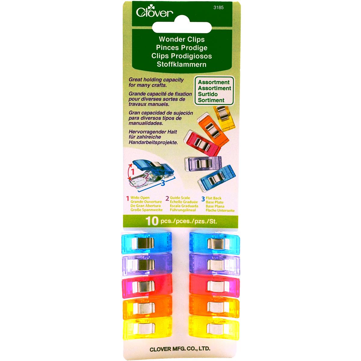 Clover Wonder Clips-Assorted Colors 10/Pkg