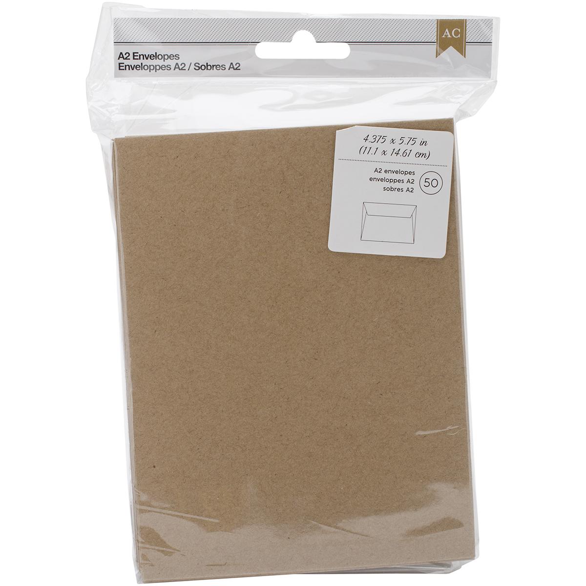 American Crafts A2 Envelopes (4.375X5.75) 50/Pkg-Kraft