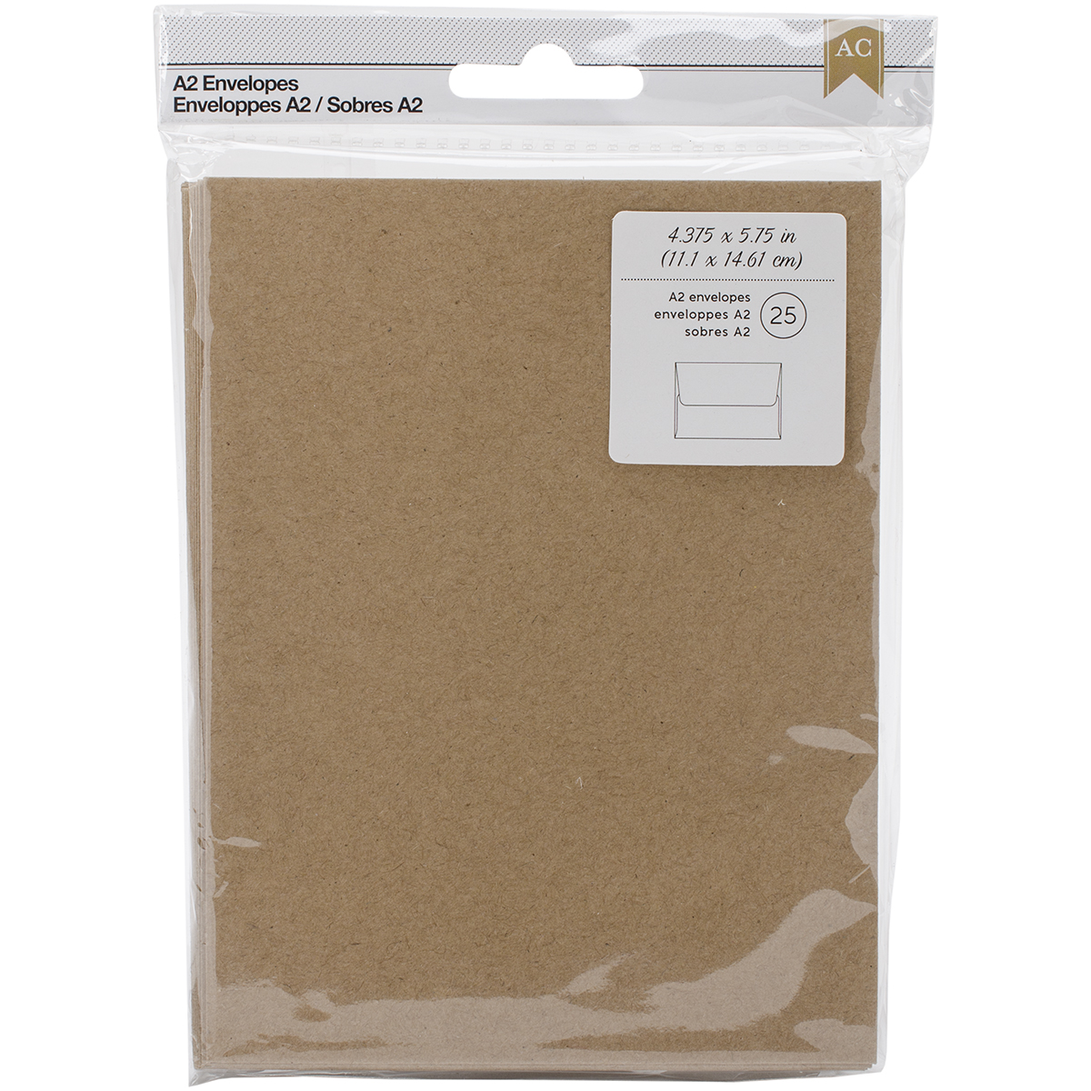 American Crafts A2 Envelopes (4.375X5.75) 25/Pkg-Kraft
